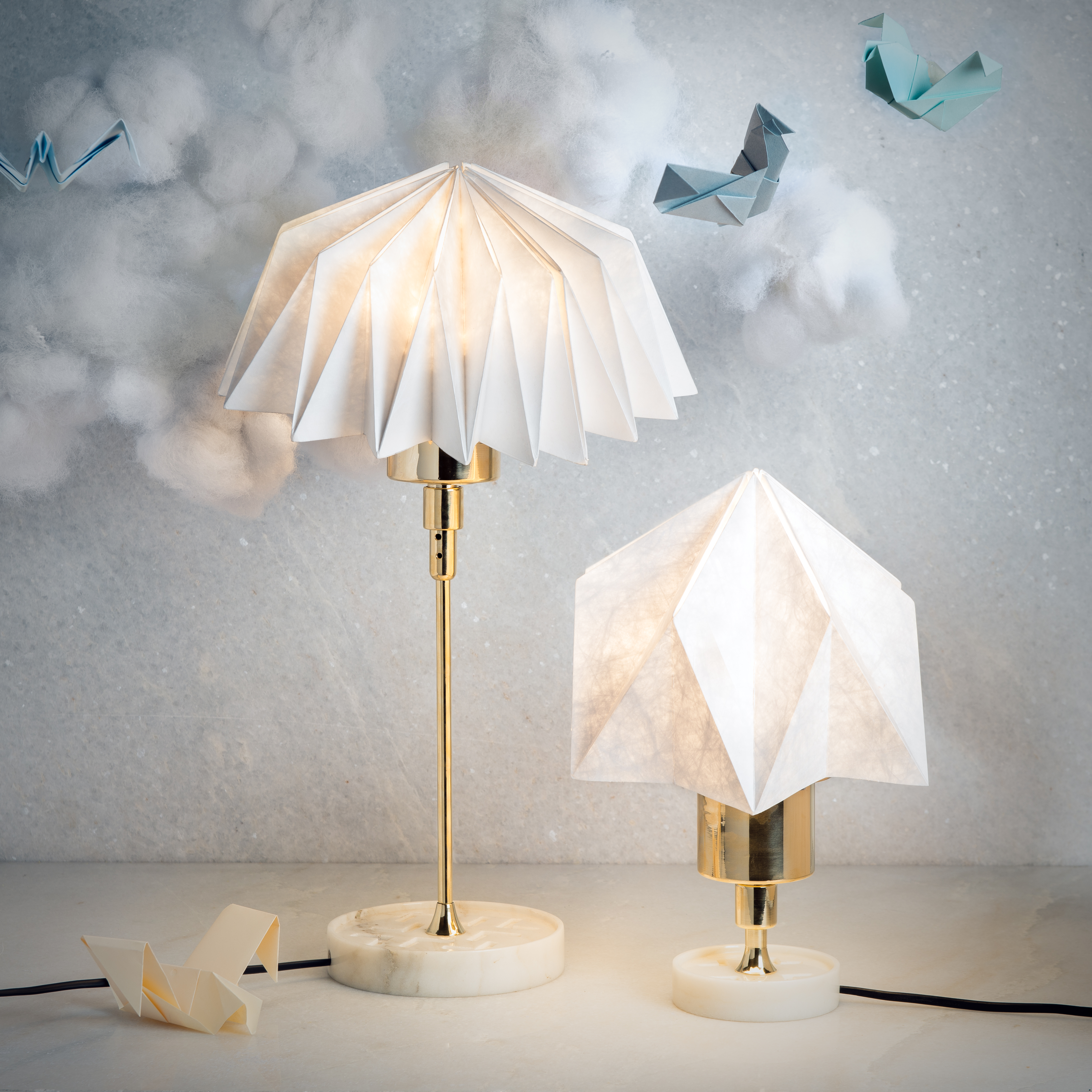This Collection Includes Bedside Lamp Floor Table Pendant Hanging And Wall Inspired By Origami Which Is A Japanese Art Of