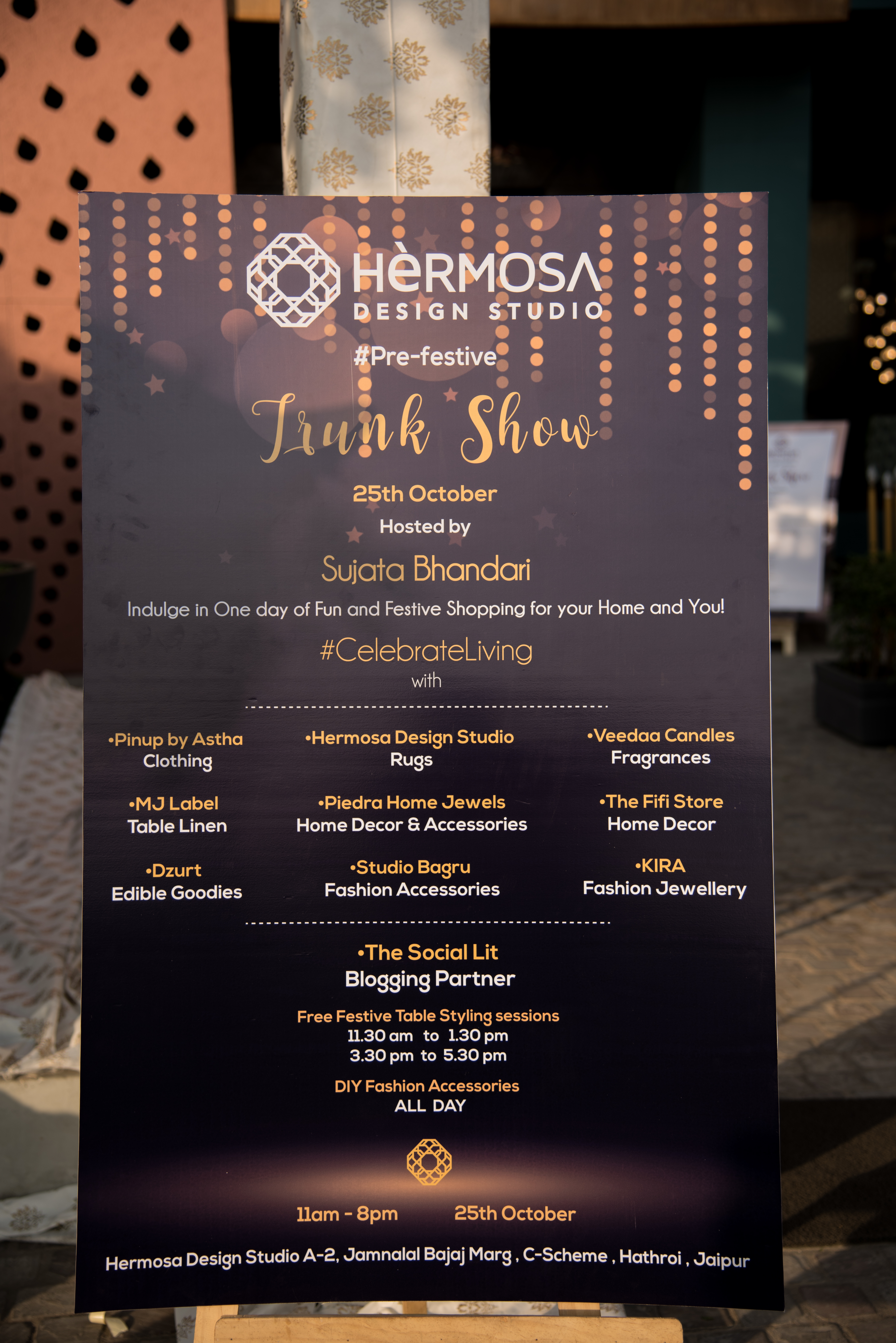 The festive season in the city began on a high note as Jaipur's most luxurious pre-festive trunk show, hosted by Hermosa Design Studio, kicked off with fervor last Thursday.